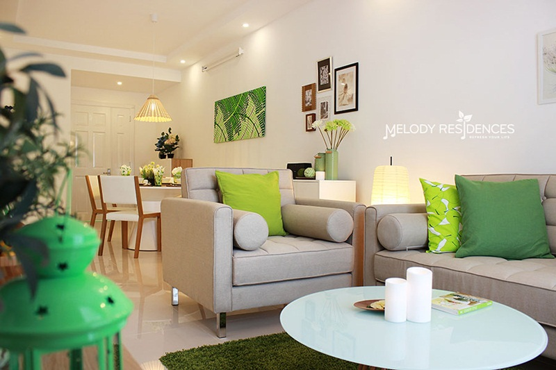 Không gian phòng khách căn hộ Melody Residences