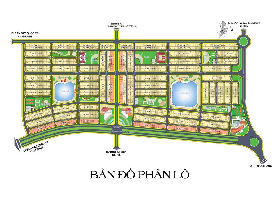 Mặt bằng phân nền khu đô thị dự án Goldenbay Bãi Dài Cam Ranh