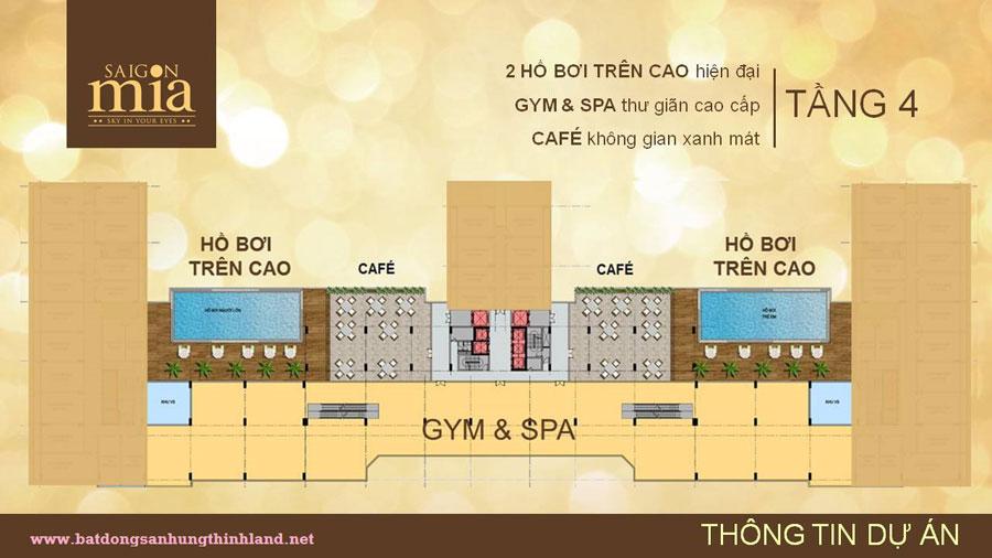 Mặt bằng thiết kế căn hộ Saigonmia với 4 tầng thương mại