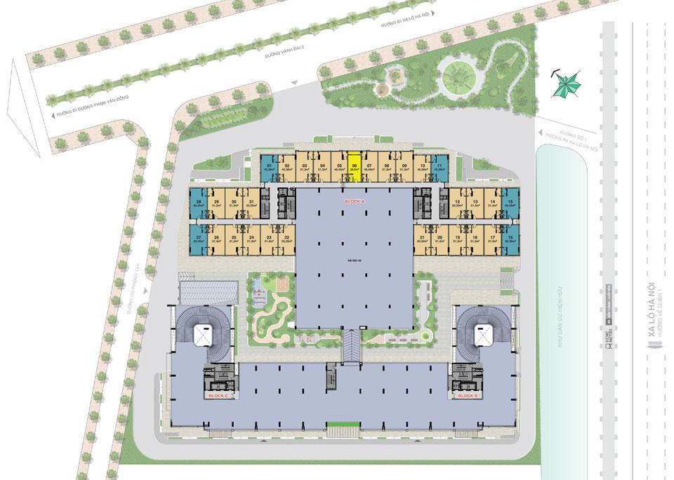 Mặt bằng Office tel Lavita Charm tầng 3