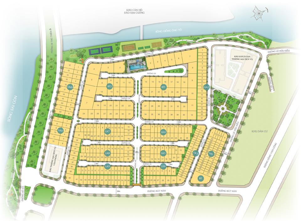 Mặt bằng dự án Saigonmystery Villas quận 2