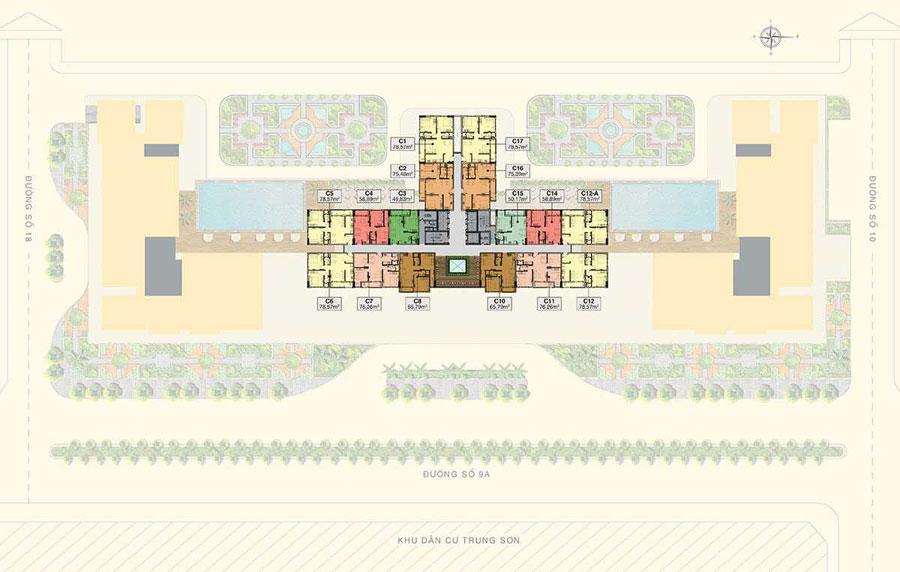 Mặt bằng tầng 24-26 căn hộ Saigonmia