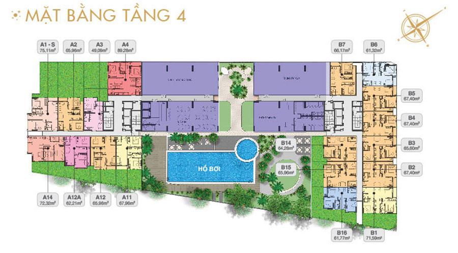 Mặt bằng tầng 4 dự án căn hộ Moonlight residences