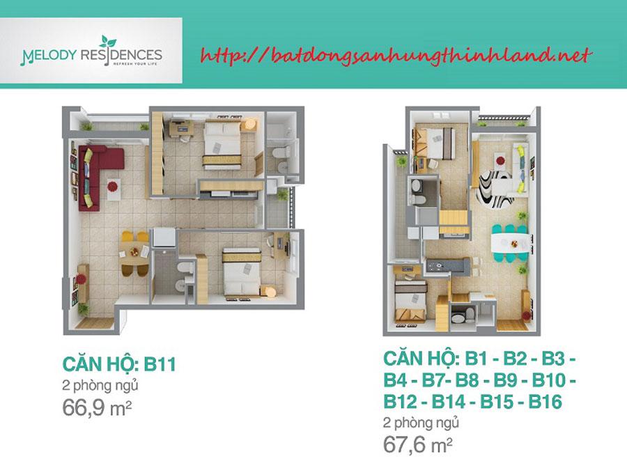 Mẫu căn hộ Melody Residencse 2 phòng ngủ