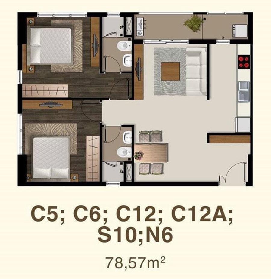 Thiết kế căn hộ 2 phòng ngủ Saigonmia