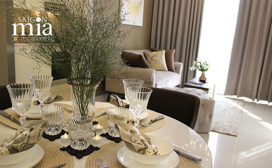 Căn hộ Saigonmia không gian phòng khách