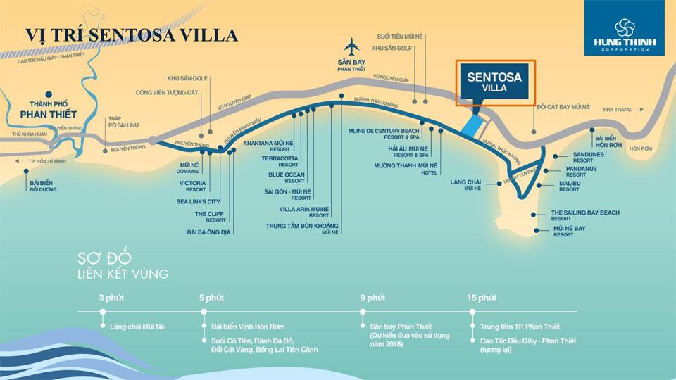 Vị trí đắc địa dự án đất nền Sentosa Villa Mũi Né