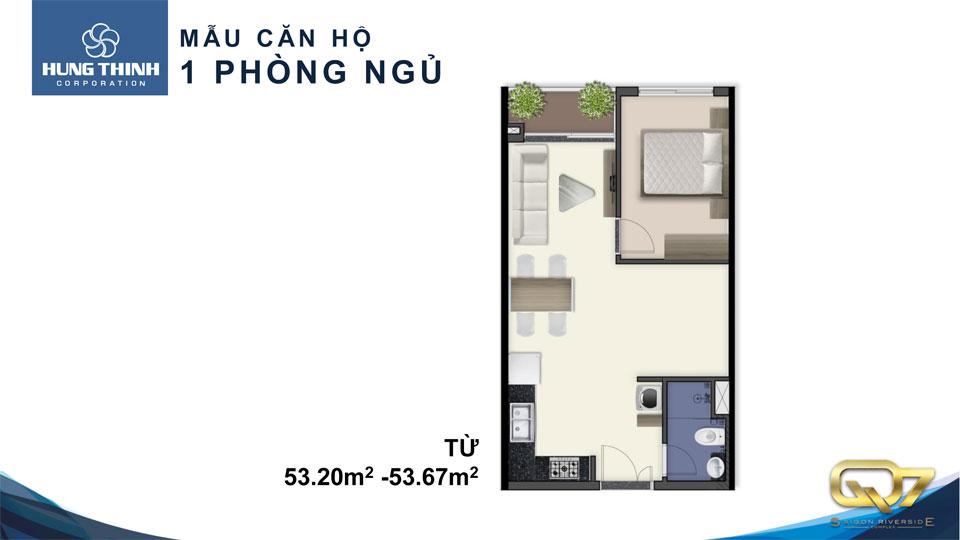 Mẫu căn hộ Q7 saigon riverside 1 phòng ngủ