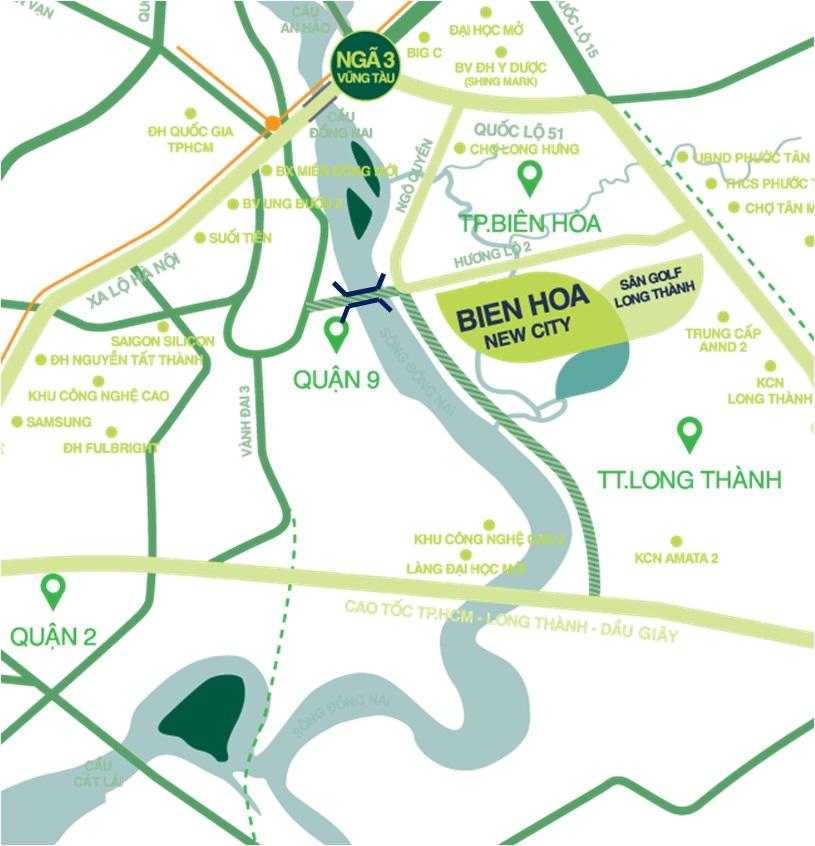 Vị trí đắc đia đất nền Biên Hoà New City