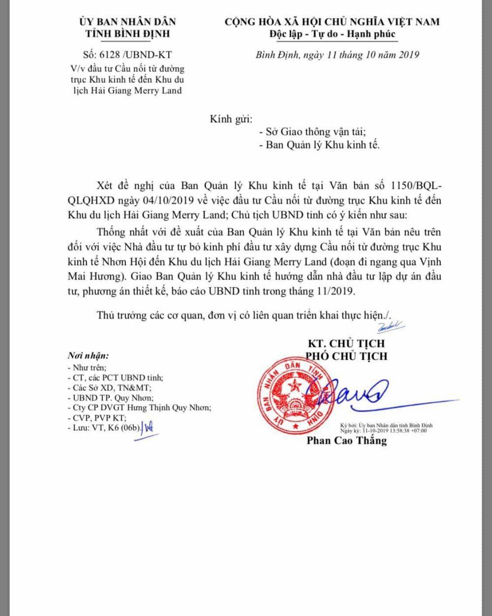 Quyết định đầu tư cầu kết nối dự án khu du lịch Hải Giang Merry Land Quy Nhơn